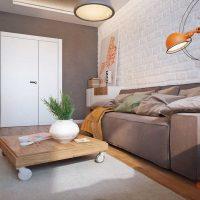Gaismas stila dzīvojamās istabas 16 kvadrātmetru attēla piemērs