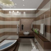 neparastā vannas istabas interjera versija 6 kv.m attēlā