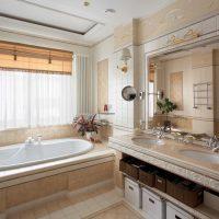 ideja par modernu vannas istabas dizainu 6 kv.m foto