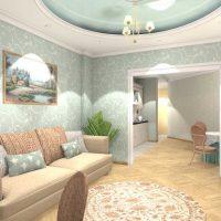 Dzīvokļa 65 kvadrātmetru garā gaišā interjera piemērs