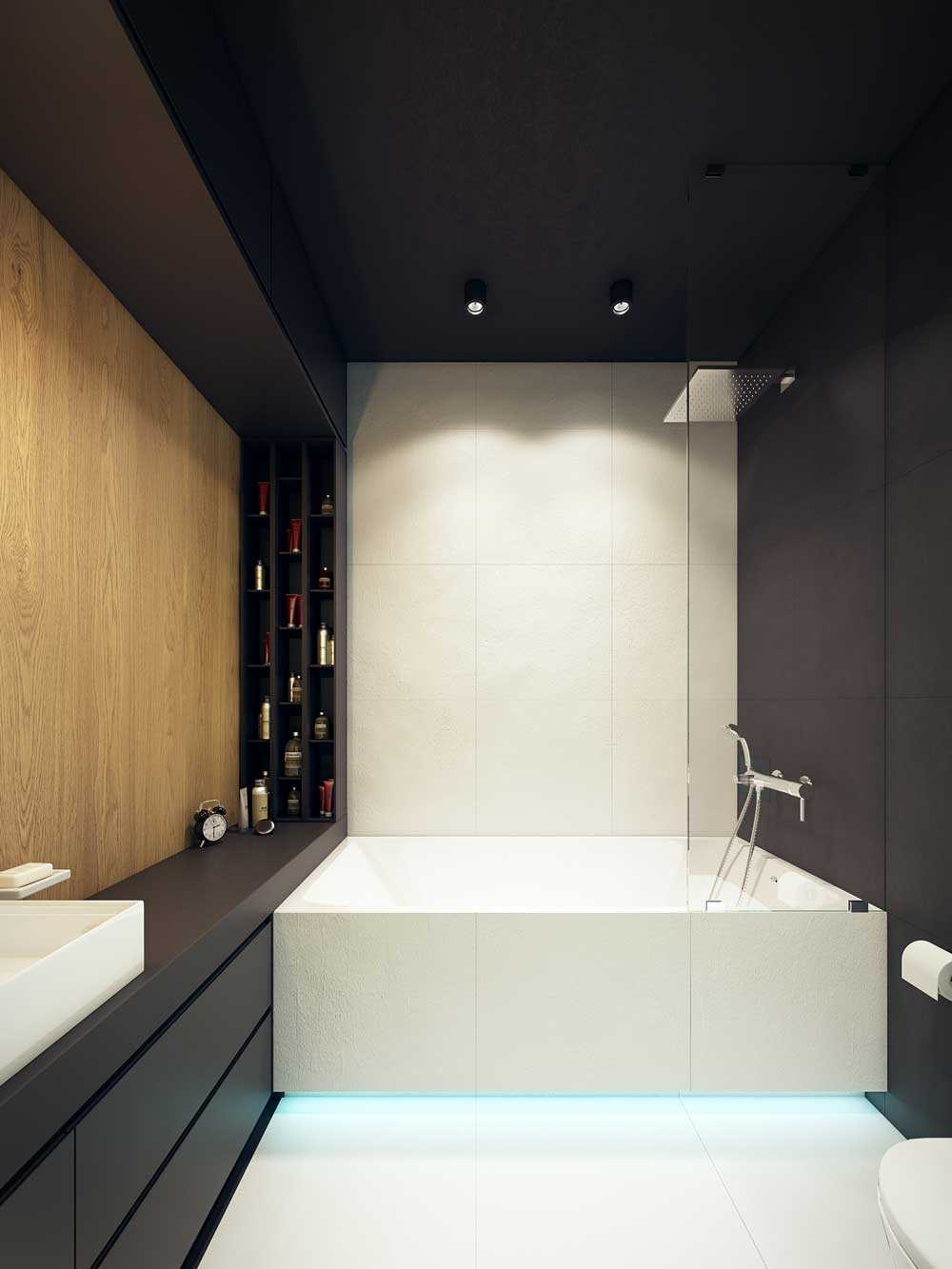 ideja par neparastu vannas istabas interjeru 6 kv.m platībā