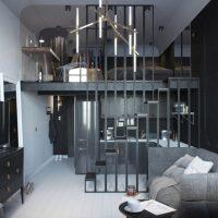 Neparastas dzīvojamās istabas 16 kvadrātmetru interjera piemērs