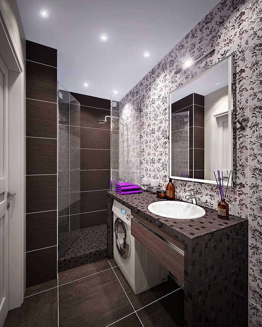 ideja par skaistu vannas istabas dizainu 6 kv.m platībā