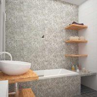 ideja par neparastu vannas istabas stilu 6 kv.m attēlā