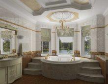 ideja par neparastu vannas istabas interjeru klasiskā stila fotoattēlā
