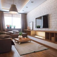 dzīvojamās istabas skaista dizaina piemērs - 16 kv.m foto