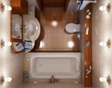 Skaista vannas istabas interjera piemērs Hruščova fotoattēlā