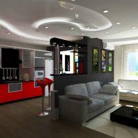 Dzīvojamās istabas gaišā stila piemērs 16 kvadrātmetru attēlā
