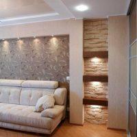 Dzīvokļa gaišā interjera piemērs ir 65 kv.m.