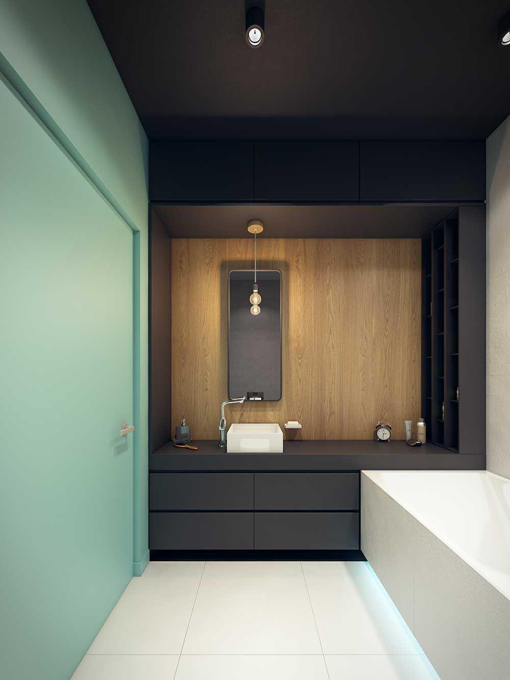 vannas istaba skaista dizaina variants ar platību 6 kv.m