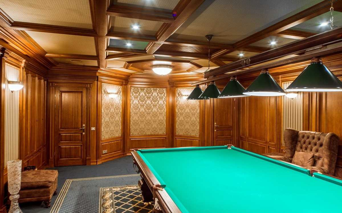 ideja par skaista stila biljarda istabu