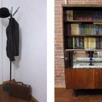 ideja par gaišu istabas dekoru padomju stila attēlā