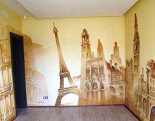 dzīvokļa gaiša interjera variants ar sienu krāsošanu