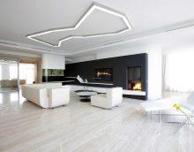 ideja par neparastu dzīvojamās istabas dizainu privātmājas fotoattēlā