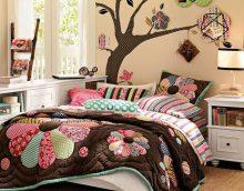ideja par skaistu guļamistabas dekoru raibu foto stilā