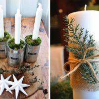 sveces ar Ziemassvētku eglīšu zariem