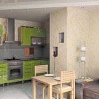 design de cuisine avec conduit d'air vert