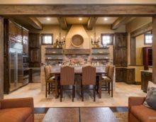 variante de l'intérieur lumineux de la cuisine dans une photo de style rustique