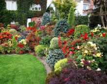 version du design inhabituel du jardin de devant dans la photo de pays