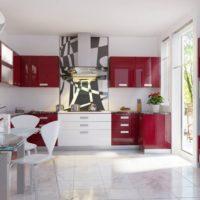virtuves dizains ar sarkanbalts interjera logu