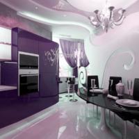 virtuves dizains ar logu un purpura komplektu
