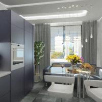 virtuves dizains ar hi-tech stila logu