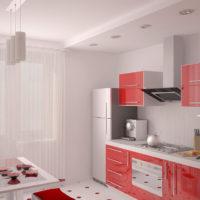 virtuves dizains ar logu un balkonu