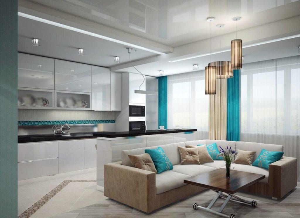 virtuves viesistaba ar lieliem logiem