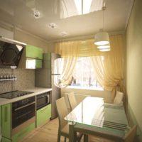 cuisine design 6 m² avec plafonds suspendus