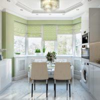 virtuves dizains ar lieliem logiem