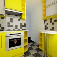 tons jaunes dans la conception de la cuisine 6 m²