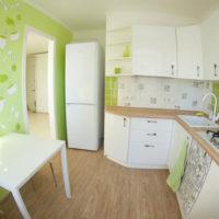 cuisine design 6 m² papier peint vert