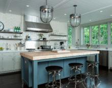 conception de cuisine sans armoires suspendues