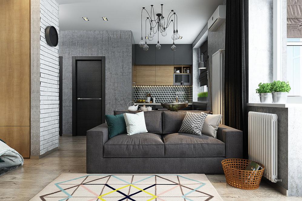 studio design de 36 m² avec une chambre dans une niche