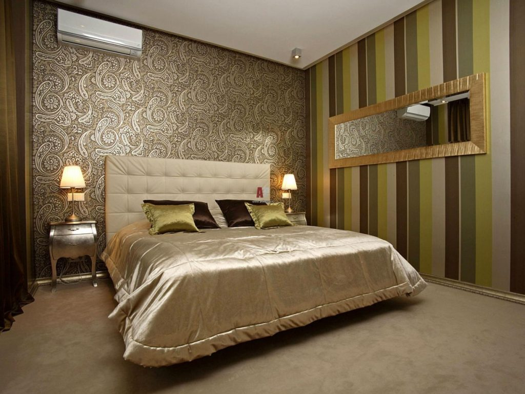 tapéta kombinációja a hálószobában