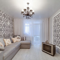 white ceiling in the living room interior