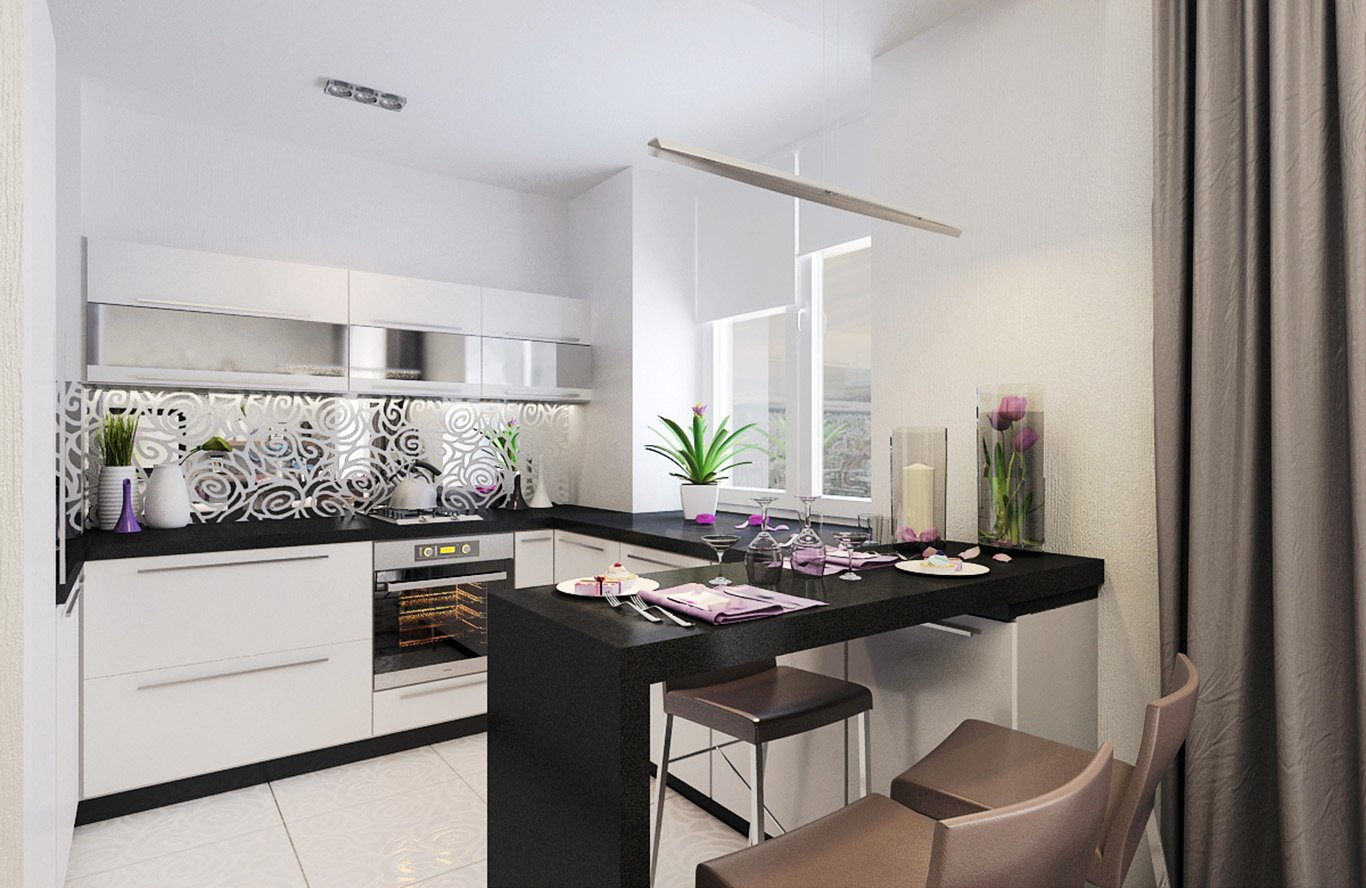 design d'intérieur de cuisine rectangulaire