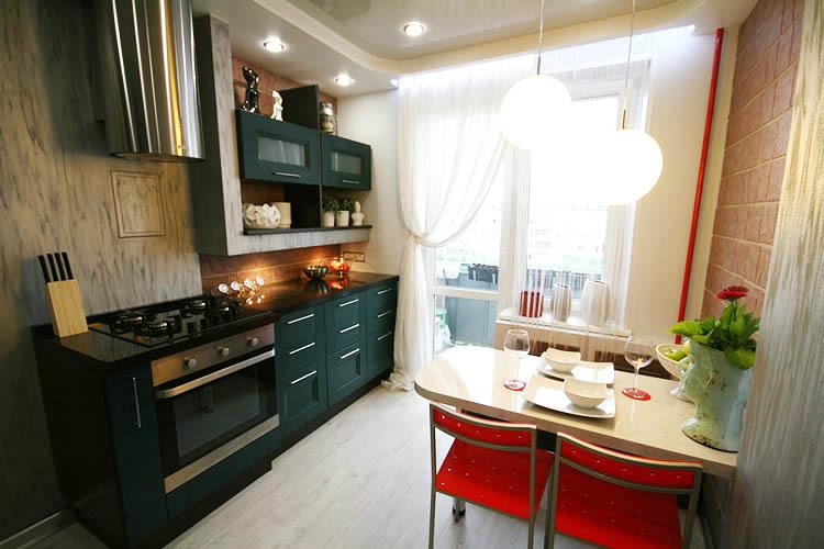 décor dans une cuisine rectangulaire