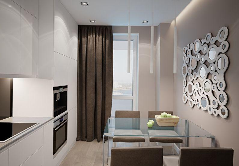 minimalisme dans une cuisine rectangulaire