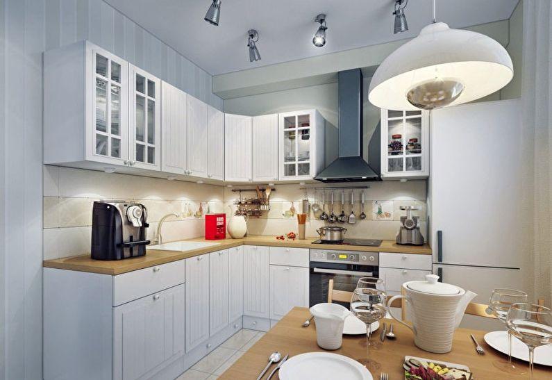 éclairage dans une cuisine rectangulaire