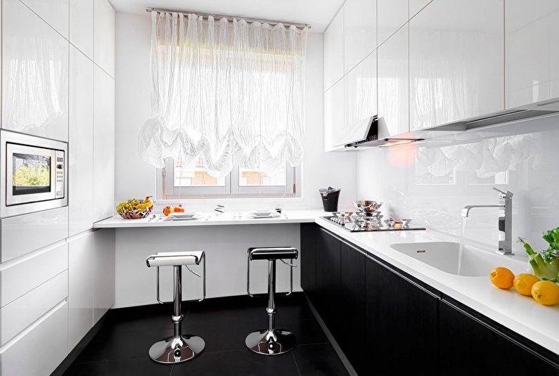 rideaux dans une cuisine rectangulaire