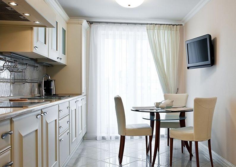 design de cuisine rectangulaire avec table