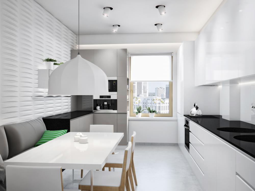 conception d'une cuisine rectangulaire aux couleurs vives