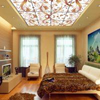 beveled ceiling design in the bedroom