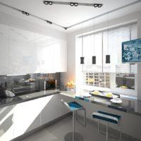 photo de conception de cuisine rectangulaire