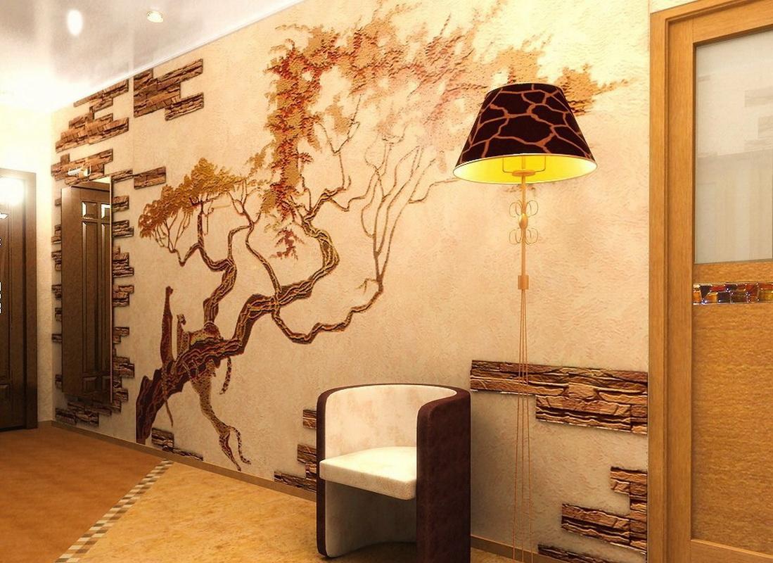 Décoration murale dans le couloir avec pierre artificielle