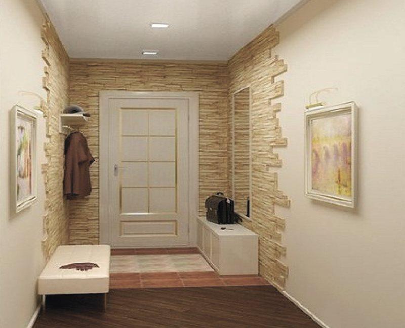 Pierre décorative légère dans les murs du couloir