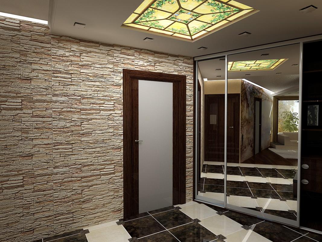 Façade avec mur de pierres décoratives dans le couloir et armoire à glace