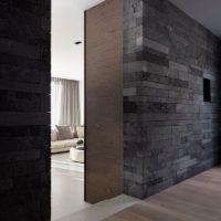 Granit dans la conception des murs du couloir