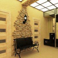 Décor mural dans le couloir avec pierre artificielle